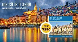 """Die Frankfurter Allgemeine Zeitung (F.A.Z.) berichtet in ihrem neuen Hörbuch über die Côte d'Azur. In der Reisereportage finden die beliebtesten Städte und Orte an der """"azurblauen Küste"""" Platz."""