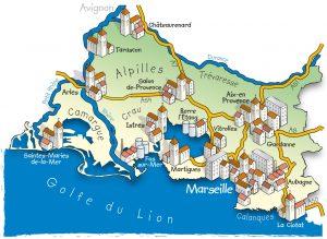 Die Landkarte zeigt die attraktive Lage von Gardanne: Aix-en-Provence, Vitrolles und Aubagne kesseln die Stadt ein.